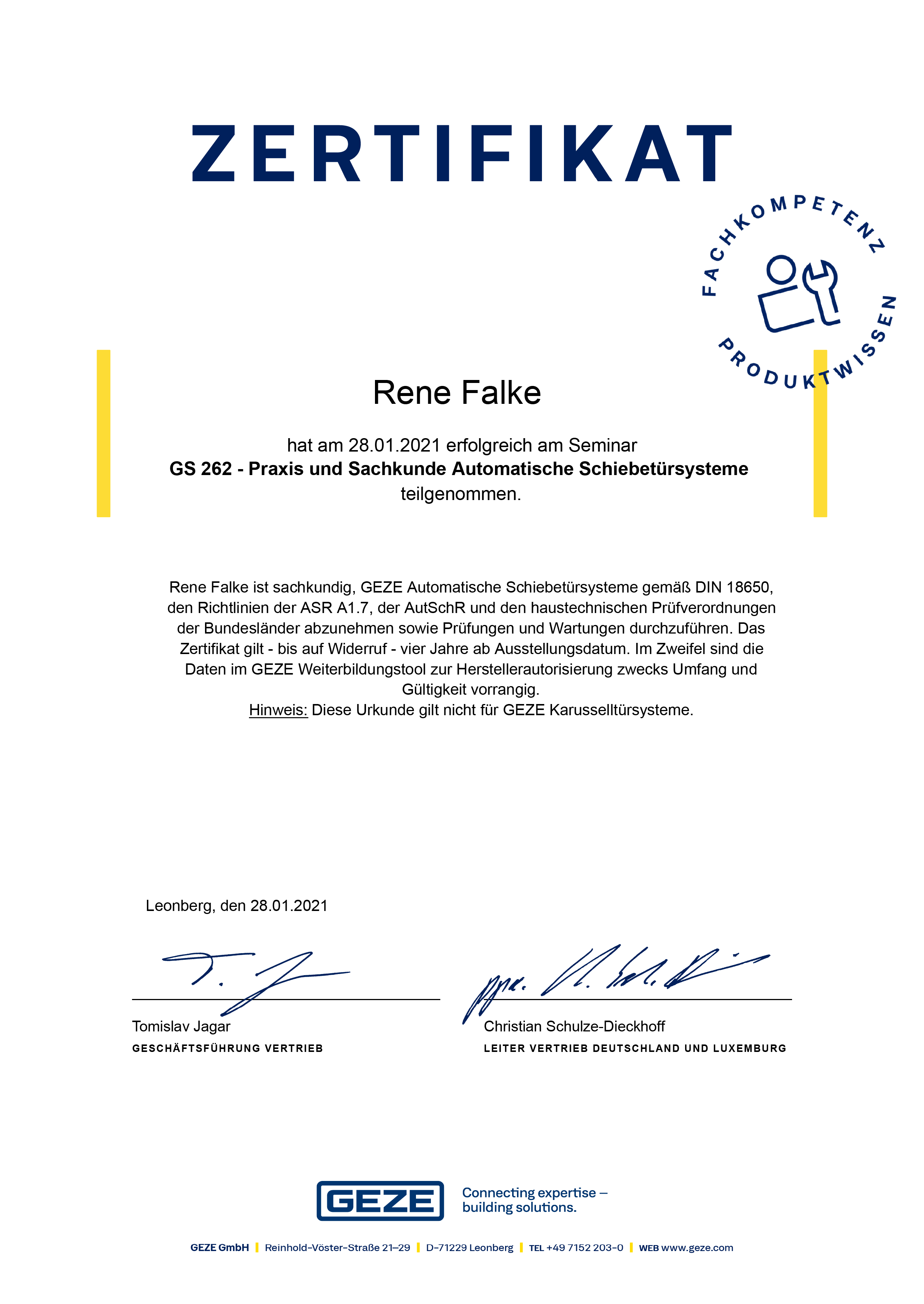 Schiebetür Zertifikat
