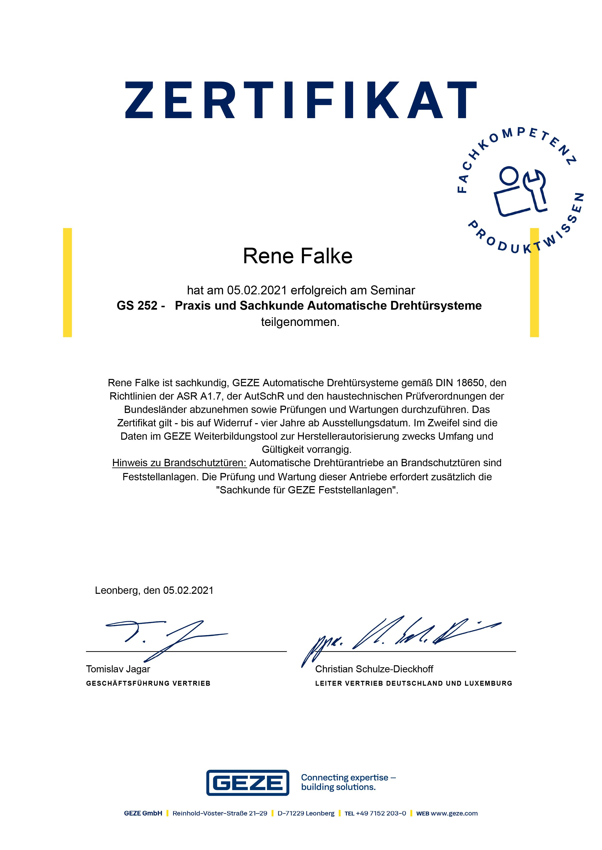 Drehtür Zertifikat