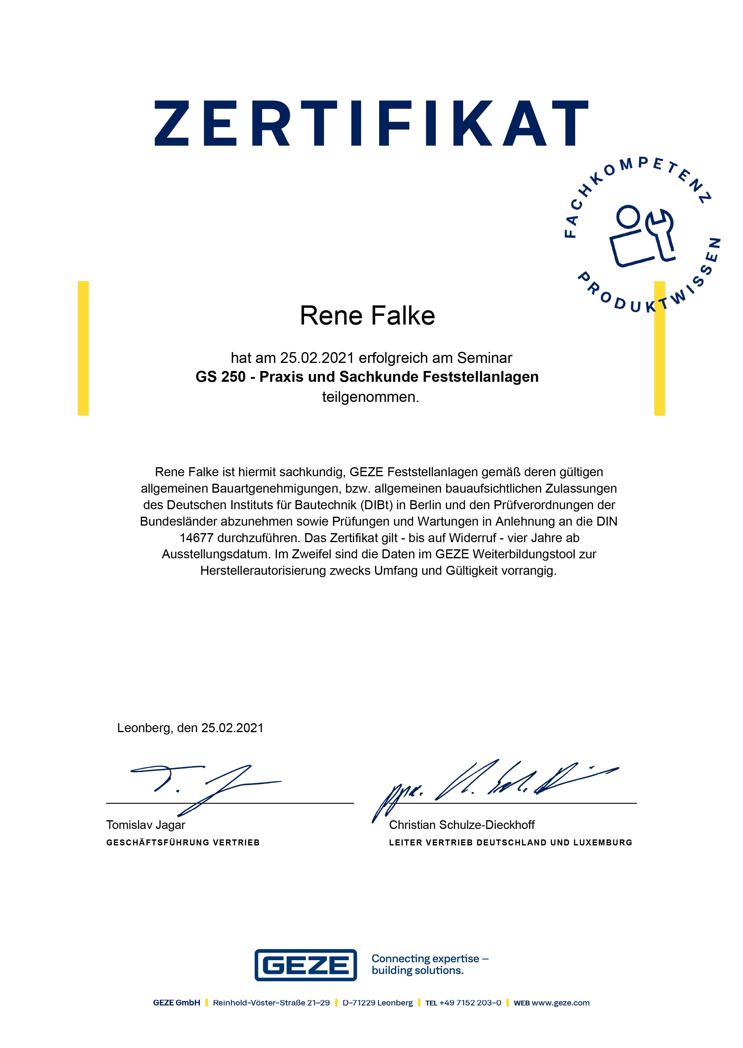 Feststellanlage Zertifikat