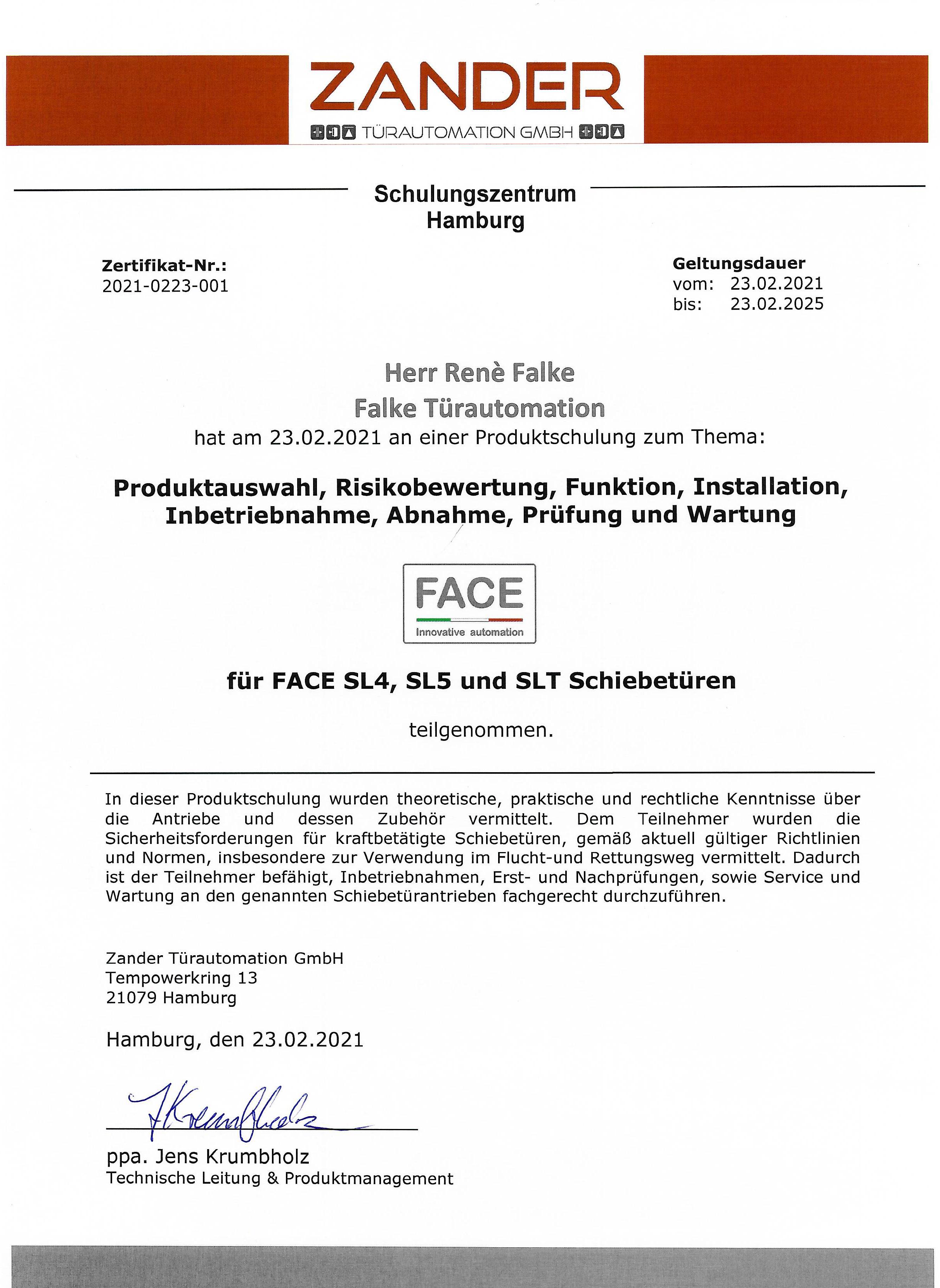 Produktschulung: für FACE SL4, SL5 und SLT Schiebetüren